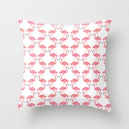 Pink Flamingos on Parade // Collaboration with Brianne Burnell Throw Pillow