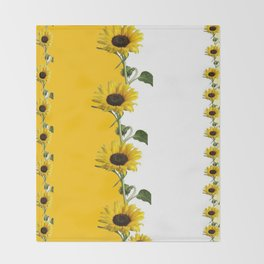 VERTICULAR YELLOW SUNFLOWERS WHITE ART Throw Blanket