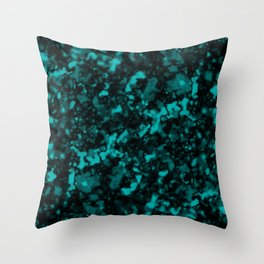 A gloomy cluster of light blue bodies on a dark background. Throw Pillow