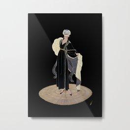 """Art Deco Illustration """"Winter in Paris"""" by Erté Metal Print"""