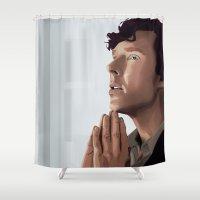 sherlock holmes Shower Curtains featuring sherlock holmes by elyinspira