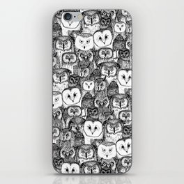 just owls black white iPhone Skin
