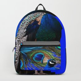 BLUE PEACOCKS BLUE MODERN GREY ART Backpack