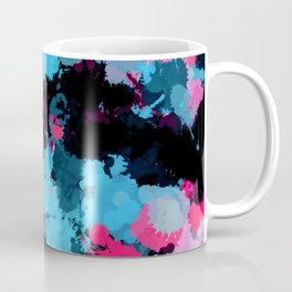 Pink and Blue Paint Splatter Coffee Mug