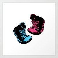 sneakers Art Prints featuring Sneakers by Cindys