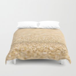 Beautiful champagne gold glitter sparkles Duvet Cover