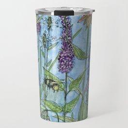 Watercolor Garden Flower Botanical Wildflowers Lady Slipper Orchid Travel Mug