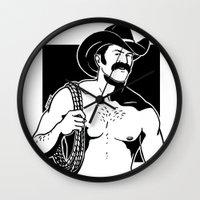 cowboy Wall Clocks featuring Cowboy by Fast Drip