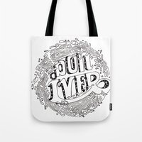 bon iver Tote Bags featuring Bon Iver  by Infinity Arrows