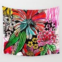 alisa burke Wall Tapestries featuring messy flowers by Alisa Burke