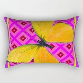 Decorative Fuchsia Purple Color Art Deco Yellow Butterfly Rectangular Pillow