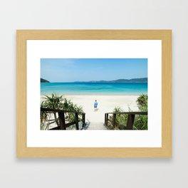 Welcome to Paradise, White Sand Beach, Tropical Japan Framed Art Print