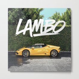 Yellow Supercar with Lettering Metal Print