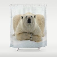 polar bear Shower Curtains featuring Polar Bear by giftstore2u