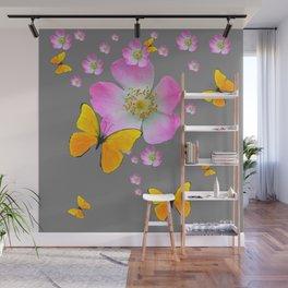 YELLOW BUTTERFLIES & PINK WILD ROSES Wall Mural