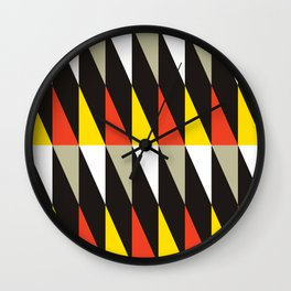 Geometric Pattern #187 (harlequin red yellow) Wall Clock