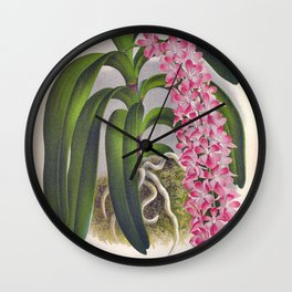 Vintage Lilac Orchid Aerides Fieldingi Lindenia Collection Wall Clock