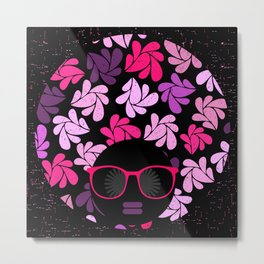Afro Diva Pink Purple Metal Print