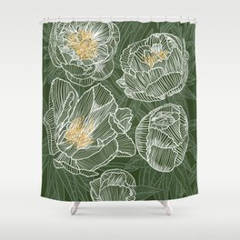 Peonies #1 White Line Art on Green Shower Curtain
