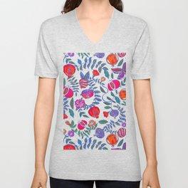 Pomegranate pattern electric blue Unisex V-Neck
