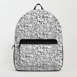 Monster Friends Black & White Pattern Backpack