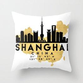 SHANGHAI CHINA SILHOUETTE SKYLINE MAP ART Throw Pillow