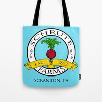 dwight schrute Tote Bags featuring Schrute Farms | The Office - Dwight Schrute by Silvio Ledbetter