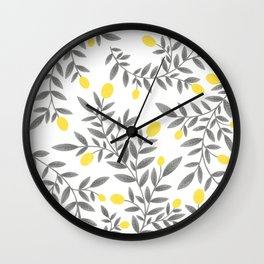 Lemon Pattern - Yellow & Gray  Wall Clock