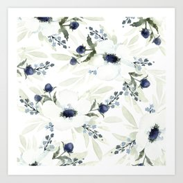 Watercolor Anemone and Thistle Art Print