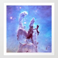 thanos Art Prints featuring nEBulA Pastel Blue & Lavender by 2sweet4words Designs