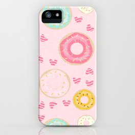 hearts and donuts pink iPhone Case