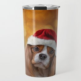 Drawing Dog breed Cavalier King Charles Spaniel  in red hat of Santa Claus Travel Mug