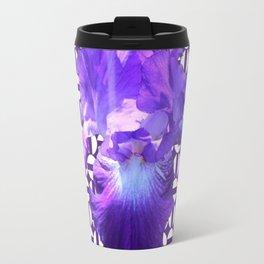 Decorative  purple Iris Optical Pattern Art Travel Mug