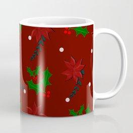 Christmas pattern,mistletoe,poinsettia flower decor. Coffee Mug