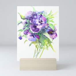 Pansy, flowers, violet flowers, gift for woman design floral vintage style Mini Art Print