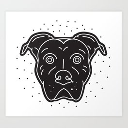 Black Pitbull Head Dog Print Art Print