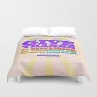 scripture Duvet Covers featuring Give Thanks in Everything! by Peter Gross