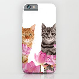 Red and Tiger cat in Lotos Flower Field iPhone Case