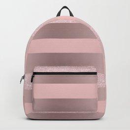Stripe in pink, rose gold & glitter Backpack
