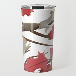 Autumn, squirrels and red leaves Travel Mug