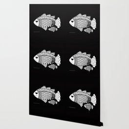 Fishies Zentangle Black and White Pen & Ink Wallpaper