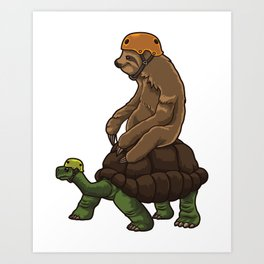 Sloth Rides A Turtle - Speed Is Overrated Art Print