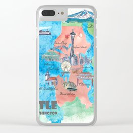 Seattle Washington Travel Poster Favorite Map Clear iPhone Case