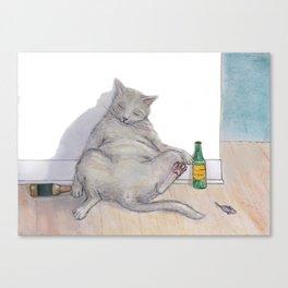 Drunk Kitty Canvas Print