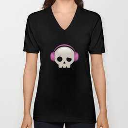 Cute Skulls with Pink Accessories Unisex V-Neck