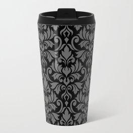 Flourish Damask Big Ptn Gray on Black Travel Mug