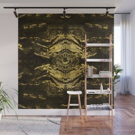 All Seeing eye golden texture on aged wood Wall Mural