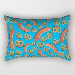 Sausage and Pretzel pattern on blue background German bavarian Oktoberfest Rectangular Pillow