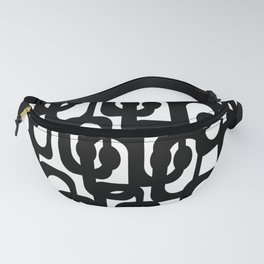 Black and White Mid-century Modern Loop Pattern Fanny Pack