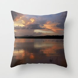 Sunset at the lake after the storm. Throw Pillow